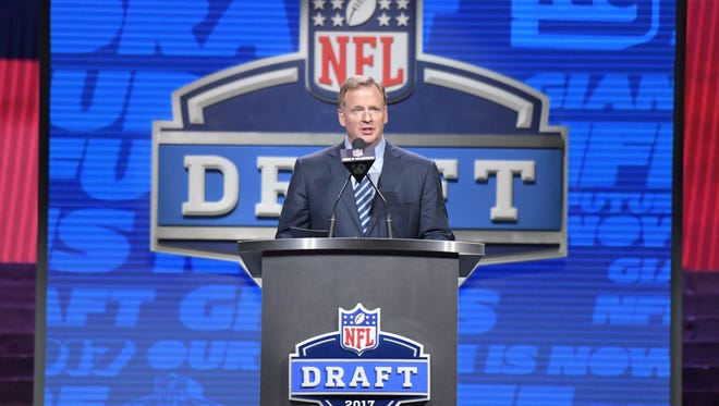 NFL commissioner Roger Goodell during the first round the 2017 NFL Draft at the Philadelphia Museum of Art.