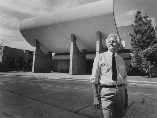 Metrocenter mall designer Robert Fairburn in front of an old mall entrance in August 1983.