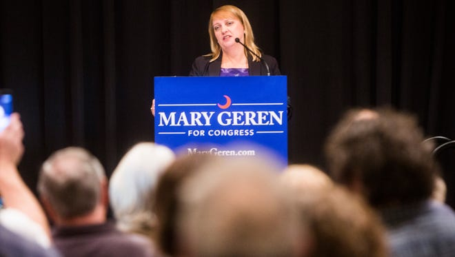 Mary Geren speaks at a rally kicking off her bid to unseat U.S. Rep. Jeff Duncan on Monday, April 17, 2017 in Clemson.