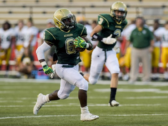 Acadiana running back Ziggy Francis (6) sprints for a long touchdown during the jamboree win over Cecilia.