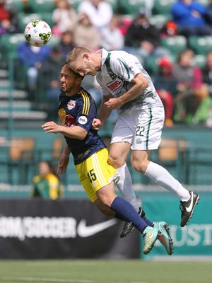 Julian Ringhof, right, is one of the Rhinos' newcomers who has impacted the USL's top defense.