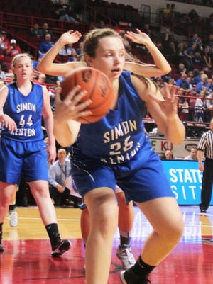SK freshman Allison Niece saves the ball inbounds in the first quarter. Simon Kenton vs. Graves County, KHSAA girls basketball Sweet 16, March 12, 2015, Western Kentucky University.