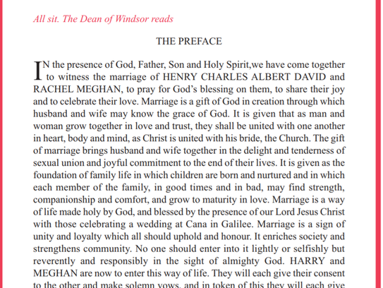 The preface listed in the order of service.