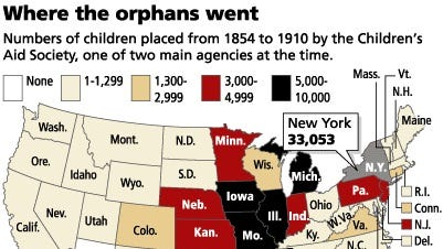Map noting more heavily populated Orphan Train emigration in the Midwest.
