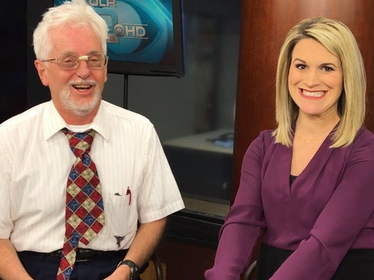 Last year's Answer Man Live!: The moment when KOLR-10's Heather Lewis realizes that Steve Pokin needs to see a TV personality coach.
