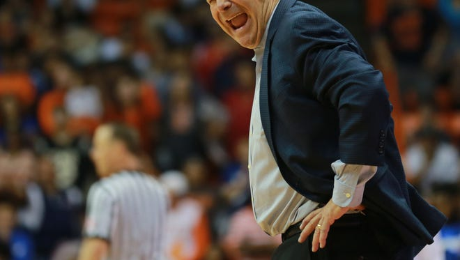 UTEP head basketball coach Tim Floyd reacts to a call.