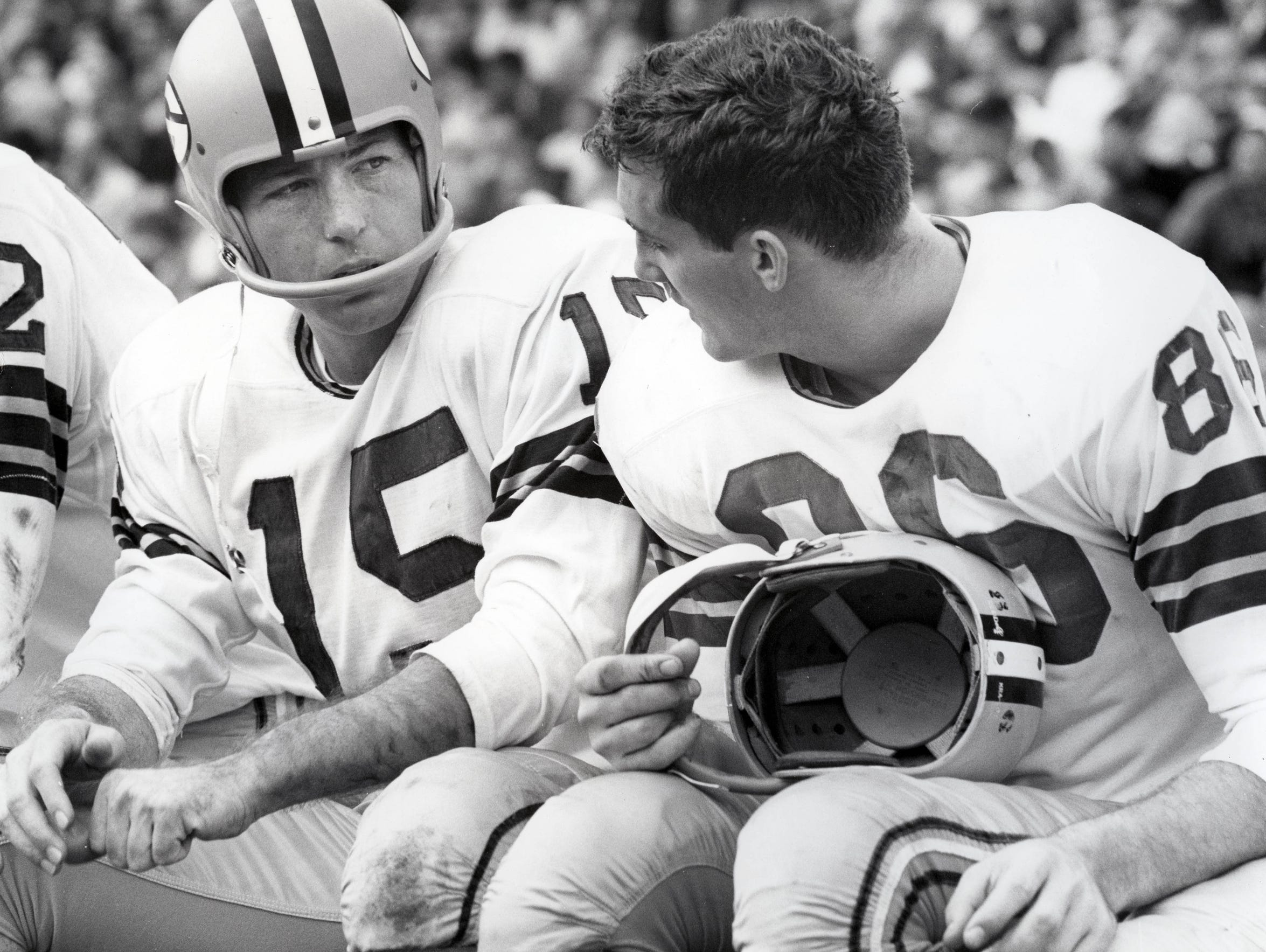 """""""I was in almost every huddle for nine years,"""" says Boyd Dowler (right), pictured on the sideline with Bart Starr. """"I don't remember Bart ever making a bad call. ... He had an unusual instinct for doing the right thing."""""""