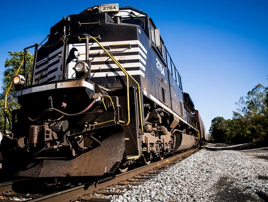 A Norfolk Southern train approaches Muncie Wednesday.