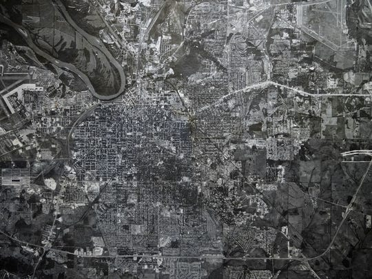 An aerial image of Montgomery, Ala., taken in Oct. of 1965.