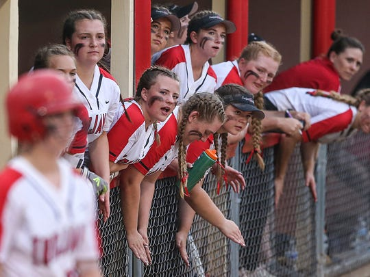 The Center Grove Trojans cheer from the dugout as they