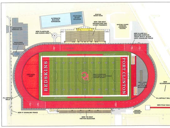A final rendering of renovations to True-Lay Stadium.