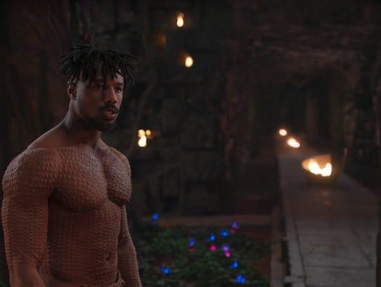 Erik Killmonger, played by Michael B. Jordan, in a