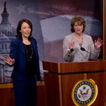 Senate Energy and Natural Resources Committee Chair Sen. Lisa Murkowski, R-Alaska, right, accompanied by the committee's ranking member, Sen. Maria Cantwell, D-Wash., speak about energy policy modernization during a news conference on Capitol Hill in Washington on Wednesday.