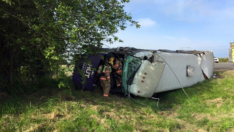 This bus crashed just south of Woodburn.