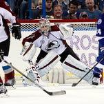 Colorado Avalanche goalie Semyon Varlamov (1) defends