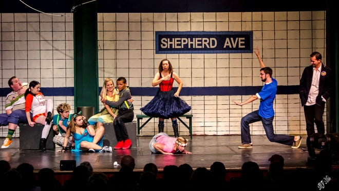 "Wilmington Drama League's production of the 2012 revision of ""Godspell"" starts, from left, Shane Wilson, Gina Dzielak, Timmy Bradford, Jane Haracz, Bethany Miller, Zach Bright, Kim Turner, Courtney Clarke, Nick Madden and Dan Sanchez."