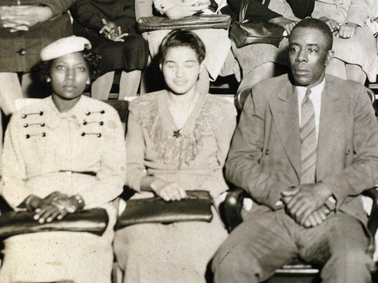 From left, Johnnie Carr, Rosa Parks and E. D. Nixon in photo from NAACP Meeting at Hall Street Baptist Church in Montgomery, Alabama in 1949.