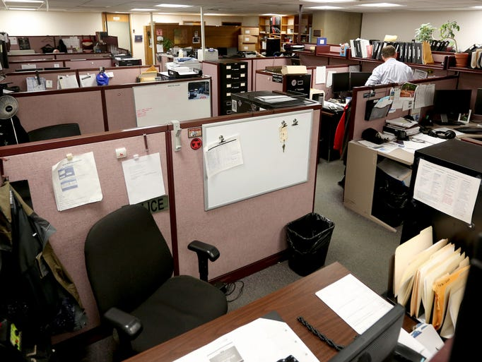 The patrol officers area at the Salem Police Department