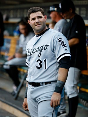 Jun 3, 2016; Detroit, MI, USA; Chicago White Sox catcher Alex Avila in the dugout during the first inning against the Tigers at Comerica Park.
