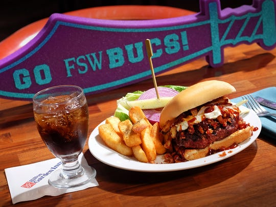 The new Buc Burger, from the Hilton Garden Inn in south Fort Myers, honors the nearby FSW Bucs.