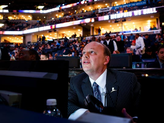 Memphis Grizzlies broadcaster Pete Pranica watches player announcements before action against the New York Knicks at the FedExForum.
