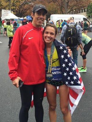 Samantha Bluske, with coach Tony Houchin after Sunday's California International Marathon.
