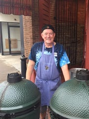 Billy Watson and his Big Green Eggs in front of Kitty's Sports Grille on Third Street