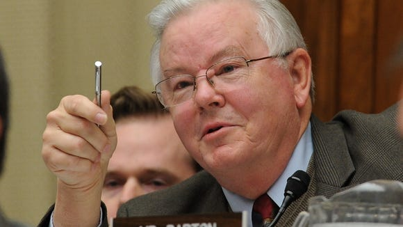 Rep. Joe Barton, R-Texas, is pictured questioning witnesses