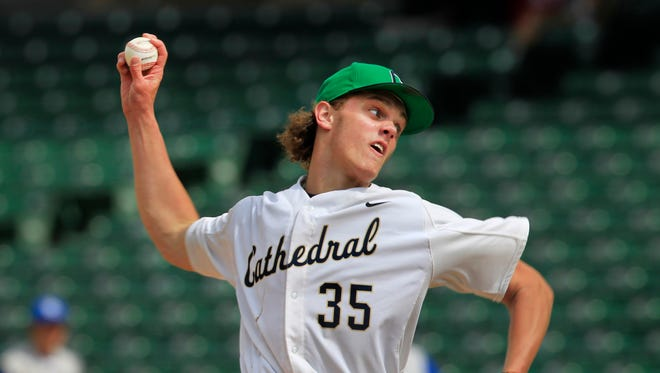 Cathedral pitcher Ashe Russell pitched a no-hitter against Bishop Chatard -- his second consecutive no-hitter to win the city tournament -- as Cathedral defeated the Trojans 10-0 at Victory Field, May 17, 2014.