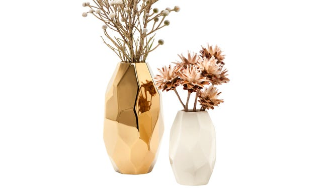 Gold faceted vase, $14.99, is available as part of the fall 2014 Nate Berkus collection for Target.