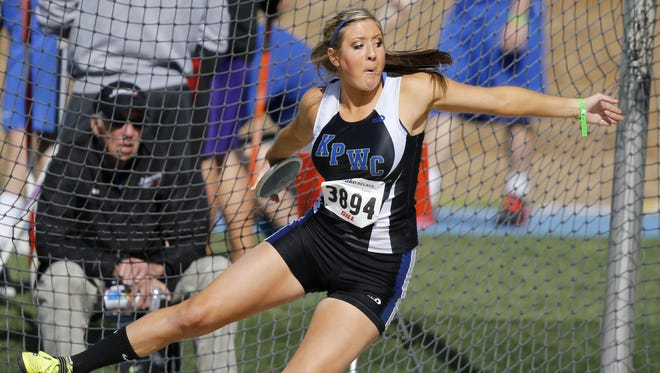 Kiana Phelps of Kingsley-Pierson/Woodbury Central winds up to throw the discus Friday, April 25, 2014 at the Drake Relays in Des Moines.  She won the event.