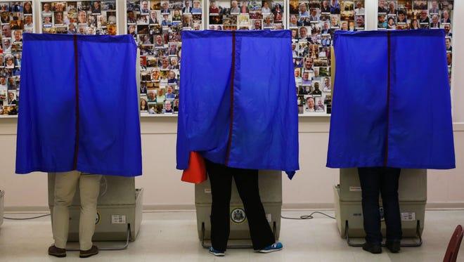 Voting booths in Philadelphia on April 26, 2016.
