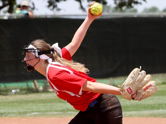 Graham's Emma Southerland pitches against Bushland Saturday, May 19, 2018, in Game 2 of the Region I-4A semifinal at Vernon College's Wade Kirk Softball Field in Vernon.
