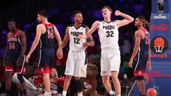 Purdue Boilermakers forward Matt Haarms (32) reacts after scoring during the first half against the Arizona Wildcats in the 2017 Battle 4 Atlantis.