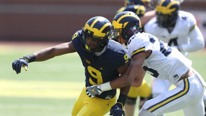 Michigan receiver Donovan Peoples-Jones in the spring game Saturday, April 15, 2017 at Michigan Stadium in Ann Arbor.