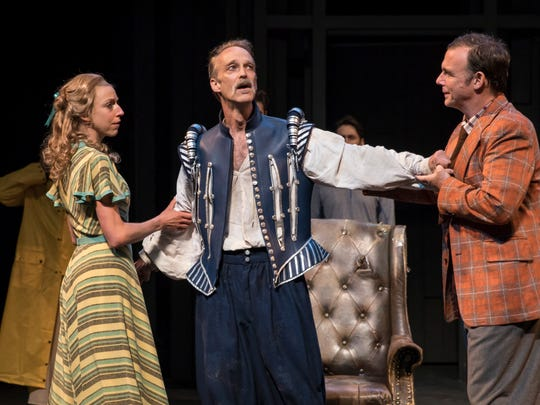 """Cristina Panfilio, James Ridge (center) and David Daniel share a scene in """"Pericles, King of Tyre,"""" performed by American Players Theatre in Spring Green."""