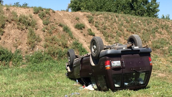 Rollover crash at Jerome Street and Cajetan Street on Sunday, Aug. 24.