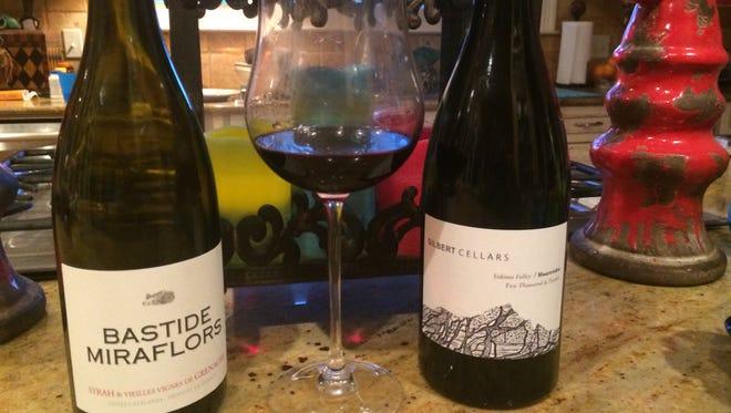 Bastide Miraflors 2012 Syrah and Old Vine Grenache, left, and Gilbert Cellars Yakima Valley Mourvedre.