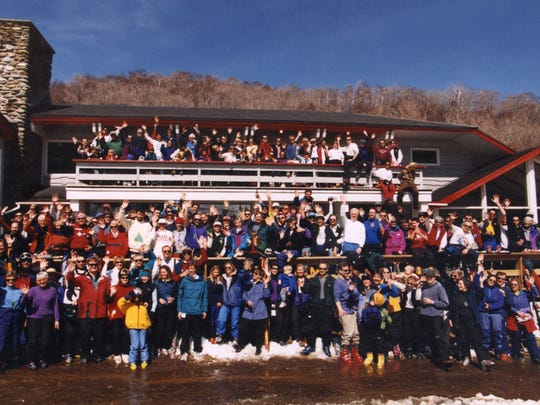 A group photo of the skier-owners of America's only cooperatively run ski area.