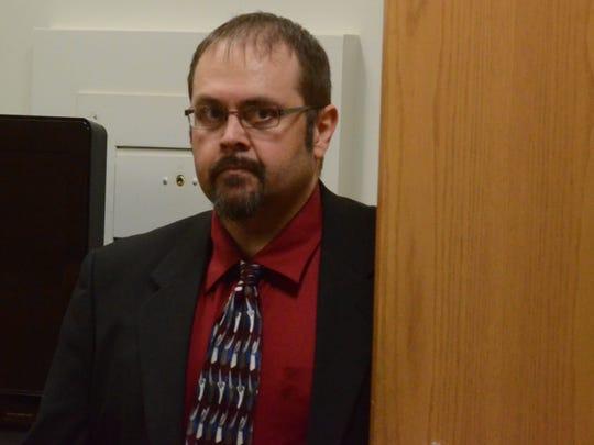 Brett Baldridge enters the courtroom Wednesday.