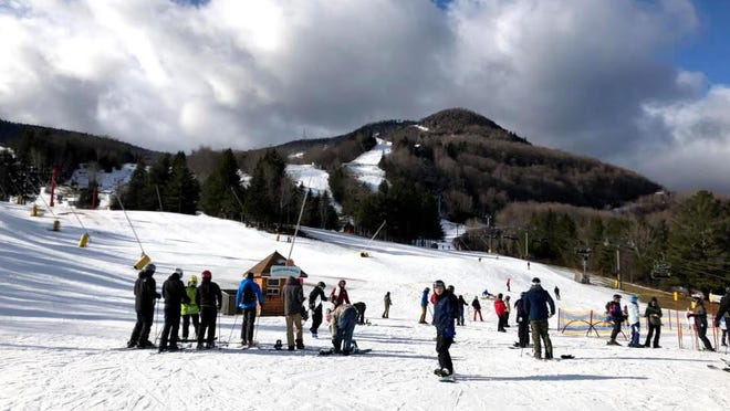 The Hunter Mountain base area. Snow conditions have been surprisingly good at ski resorts throughout the northeast.