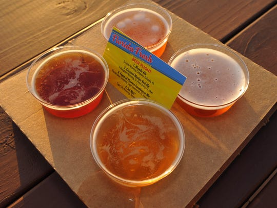 Beer samples from the Florida Fresh area includes one from the Florida Beer Company in Cape Canaveral, Fl. Epcot International Flower & Garden Festival runs from March 4-May 17, 2015. The festival includes several Disney character topiaries, and seasonal dishes located at various outdoor kitchens around the World Showcase