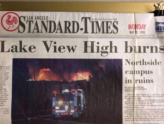 Headline: Lake View High burns, May 18, 1998