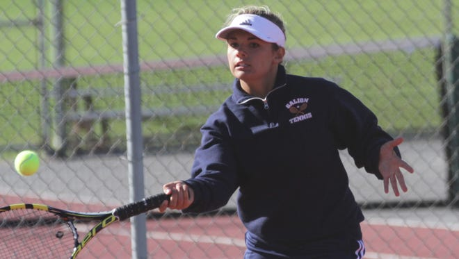 Galion's Kayley Gimbel competes in the Division II sectional tennis tournament two weeks ago in Shelby.
