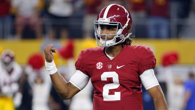 Freshman quarterback Jalen Hurts is drawing rave reviews after leading Alabama to a 52-6 win over Southern California on Saturday, though coach Nick Saban isn't saying who will start next week.