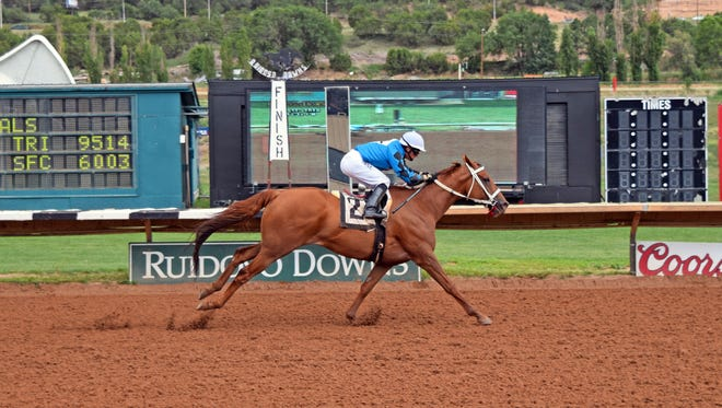 Hush's Storm won the 7 and 1/2 furlong Land of Enchantment Stakes on Sunday at Ruidoso Downs Race Track and Casino. Alfredo Juarez Jr. was the winning jockey, Todd Fincher was the winning trainer.