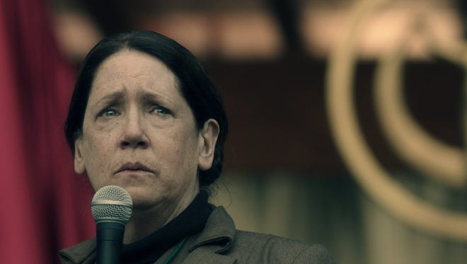 """Aunt Lydia (Ann Dowd) trains the handmaids in """"The Handmaid's Tale."""""""