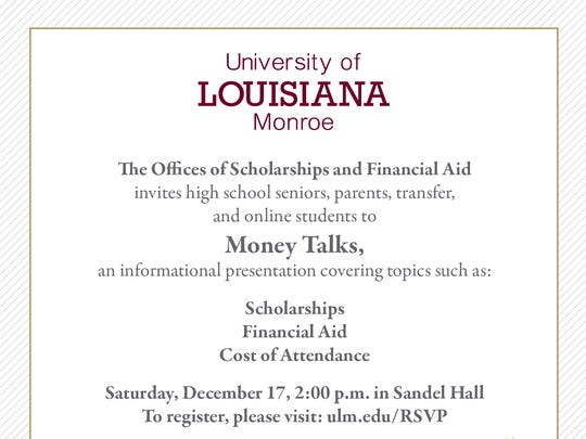 ULM to hold seminar discussing scholarships and financial