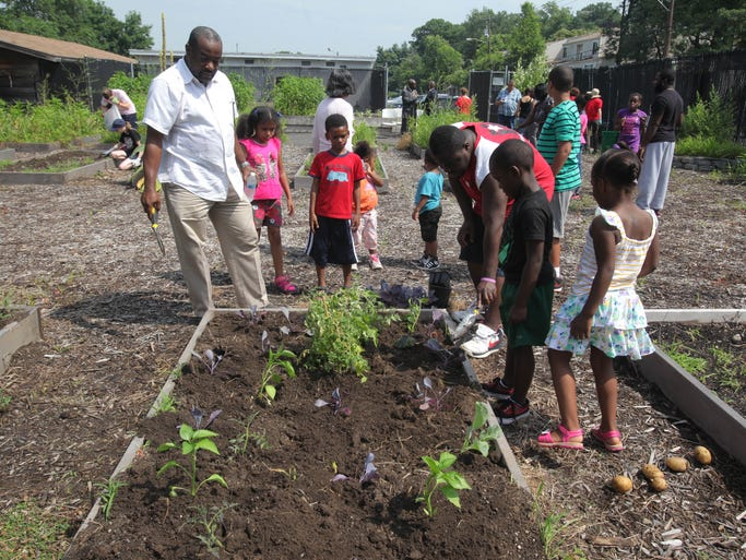 Members of the community set up their own personal garden at the Spring Valley Community Garden in Spring Valley on July 8, 2014.