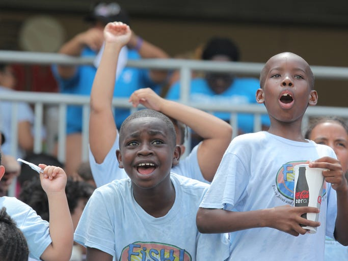 Day Campers attend the Rockland Boulders verse Trois-Rivieres Aigles baseball game at Provident Bank Park in Ramapo on July 23, 2014.